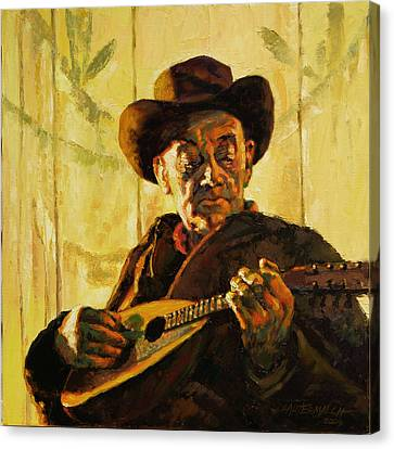 Cowboy With Mandolin Canvas Print by John Lautermilch
