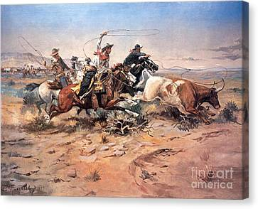 Oil On Canvas Print - Cowboys Roping A Steer by Charles Marion Russell