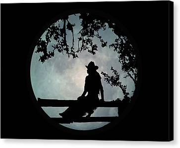 Cowgirl And Moon Canvas Print
