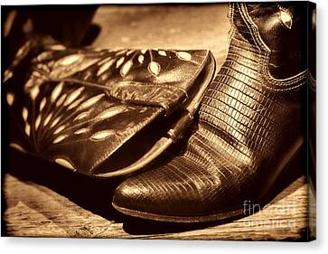 Cowgirl Gator Boots Canvas Print by American West Legend By Olivier Le Queinec