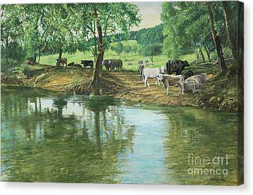 Trail Ride Canvas Print - Cows And Creek by Don Langeneckert