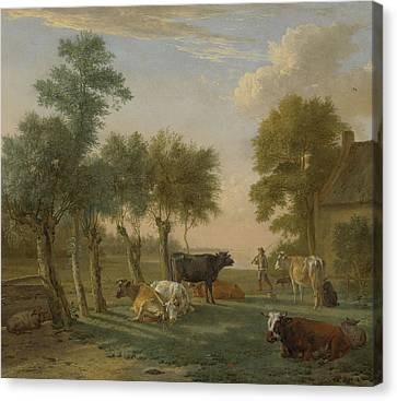 Cows In A Meadow Near A Farm Canvas Print by Paulus Potter