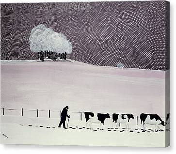 Cows In A Snowstorm Canvas Print