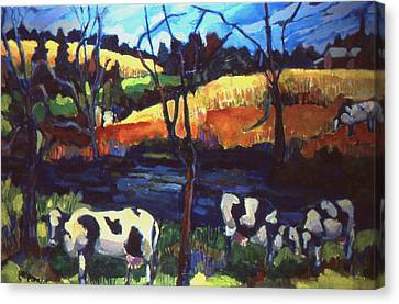 Cows In Landscape Canvas Print