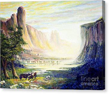 Cows In The Mountain Canvas Print by Wingsdomain Art and Photography