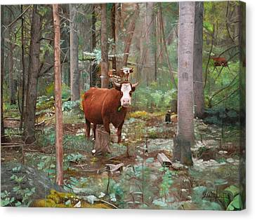 Cows In The Woods Canvas Print by Joshua Martin