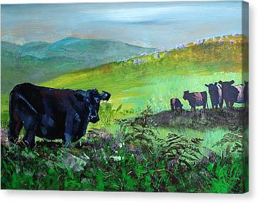 Cow Canvas Print - Cows On Dartmoor by Mike Jory