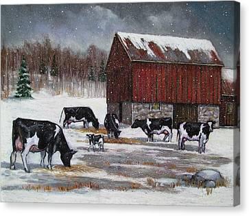 Cows On Snowy Day No. 3 Canvas Print by Joyce Geleynse