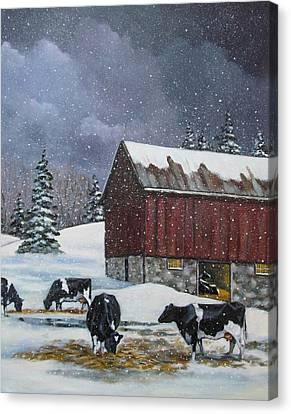 Cows On Snowy Day No. 4 Canvas Print by Joyce Geleynse