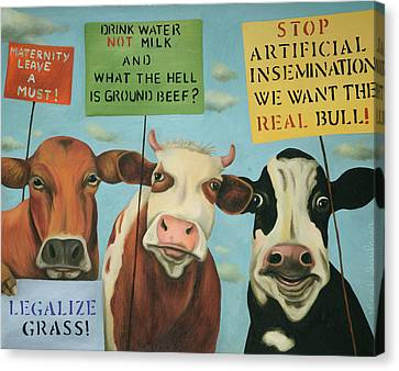 Canvas Print featuring the painting Cows On Strike by Leah Saulnier The Painting Maniac