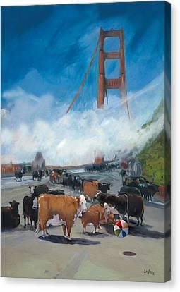 Cows On The Bridge 1 Canvas Print by Kathryn LeMieux