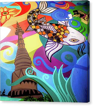 Thailand Canvas Print - Coy Fish And Temple by Daniel De Blasio