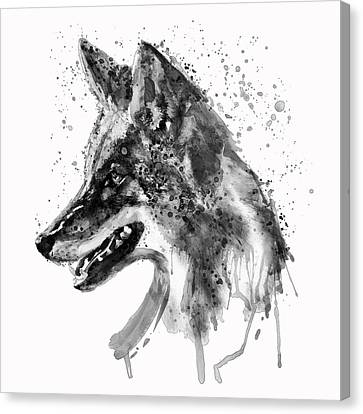 Coyote Head Black And White Canvas Print by Marian Voicu