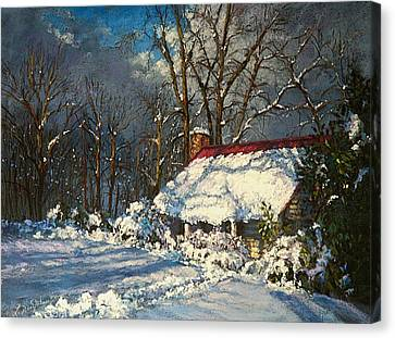 Cozy In The Snow Canvas Print by L Diane Johnson