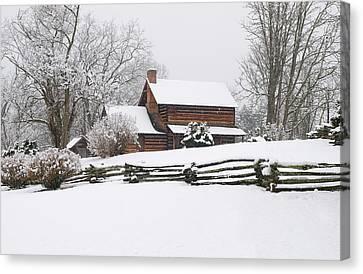 Cozy Snow Cabin Canvas Print by J K York