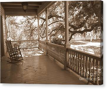 Rocking Chairs Canvas Print - Cozy Southern Porch by Carol Groenen
