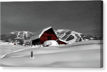 Log Cabin Canvas Print - Cozy Winter Cabin by Mountain Dreams