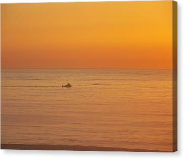 Crab Boat At Sunset Canvas Print by Angi Parks