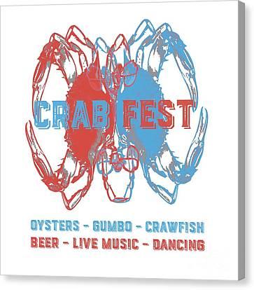 Crawfish Canvas Print - Crab Fest Tee by Edward Fielding