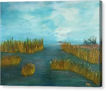 Crab Lady Landing In Big Lake Canvas Print