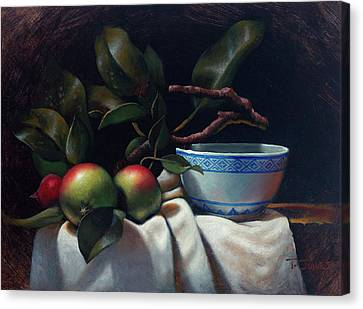 Ceramic Bowl Canvas Print - Crabapples And Rice Bowl by Timothy Jones