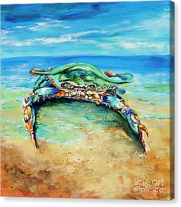 Crabby At The Beach Canvas Print
