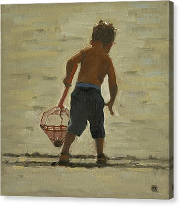 Crabin At The Beach Canvas Print by John Reynolds