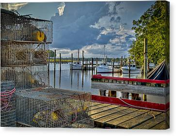 Crabpots And Fishing Boats Canvas Print by Williams-Cairns Photography LLC