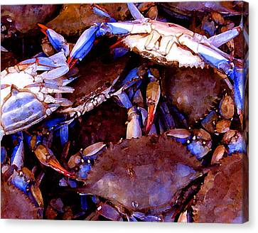 Canvas Print featuring the digital art Crabs At The Market by Timothy Bulone