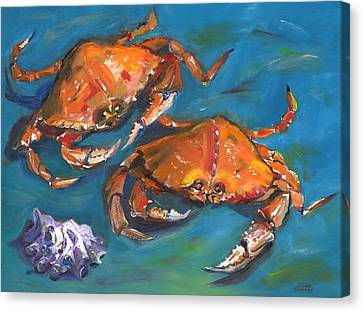 Canvas Print featuring the painting Crabs by Susan Thomas