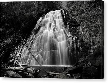 Crabtree Falls In Black And White Canvas Print