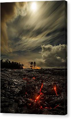 Lava Flow Canvas Print - Crack In The Flow On Moon Lit Drive  by Sean King