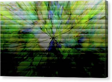 Cracked Abstract Green Canvas Print