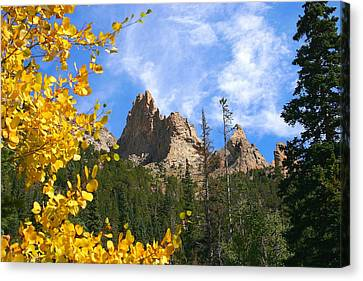 Canvas Print featuring the photograph Crags In Fall by Perspective Imagery