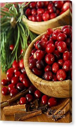 Sour Canvas Print - Cranberries In Bowls by Elena Elisseeva