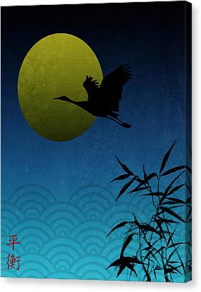 Crane And Yellow Moon Canvas Print by Christina Lihani