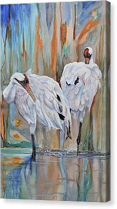 Crane Feathers Ll Canvas Print by Vicky Lilla