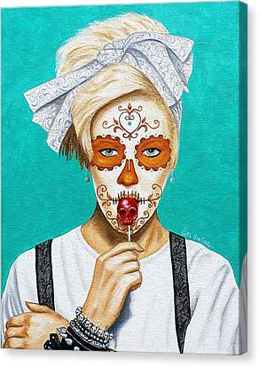 Canvas Print featuring the painting Craneo Del Caramelo Dulce by Al  Molina