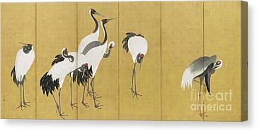 Backdrop Canvas Print - Cranes by Maruyama Okyo