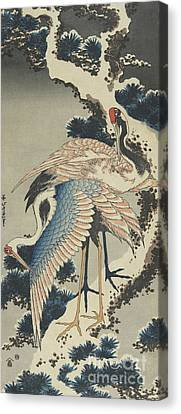 Cranes On Pine Canvas Print by Hokusai