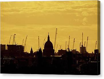 Cranes Over London Canvas Print by Wayne Molyneux