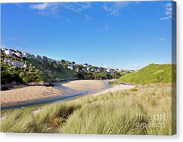 Crantock And The Gannel Canvas Print by Terri Waters