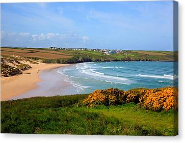 Crantock Bay And Beach North Cornwall England Uk Near Newquay With Waves In Spring Canvas Print by Michael Charles