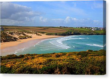 Surfing Magazine Canvas Print - Crantock Beach And Yellow Gorse North Cornwall England Uk by Michael Charles
