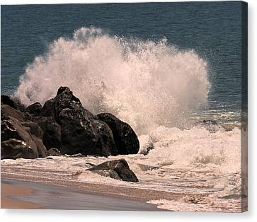 Canvas Print featuring the photograph Crashing by Ron Dubin