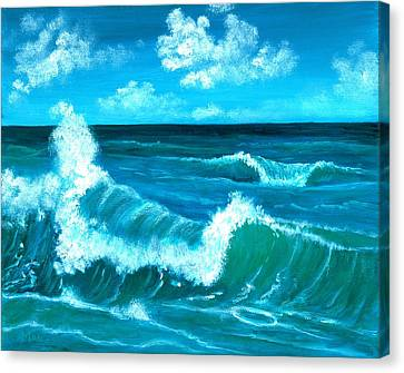 Canvas Print featuring the painting Crashing Wave by Anastasiya Malakhova