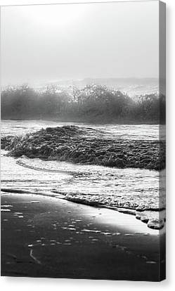 Canvas Print featuring the photograph Crashing Wave At Beach Black And White  by John McGraw