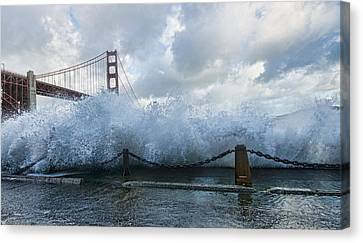 Canvas Print featuring the photograph Crashing Wave Golden Gate Bridge King Tide by Steve Siri