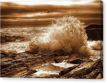 Crashing Wave Hdr Golden Glow Canvas Print by Sherman Perry