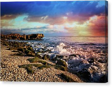 Canvas Print featuring the photograph Crashing Waves At Low Tide by Debra and Dave Vanderlaan